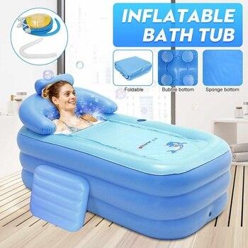 Portátil dobrável engrossado inflável banheira casa acampamento viagem banho piscina ao ar livre piscina família spa para adulto ou criança