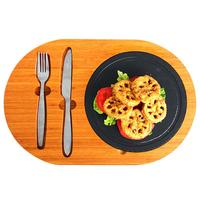 Oval Shaped Kitchen Slate Tray Fashion Customizable Bamboo Floor Rock Plate Japanese Innovative Western Dishes With Cutlery