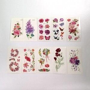 Временные тату-наклейки с цветами, искусственные татуировки для лица, ног, рук, тела, бабочки, 10 шт.