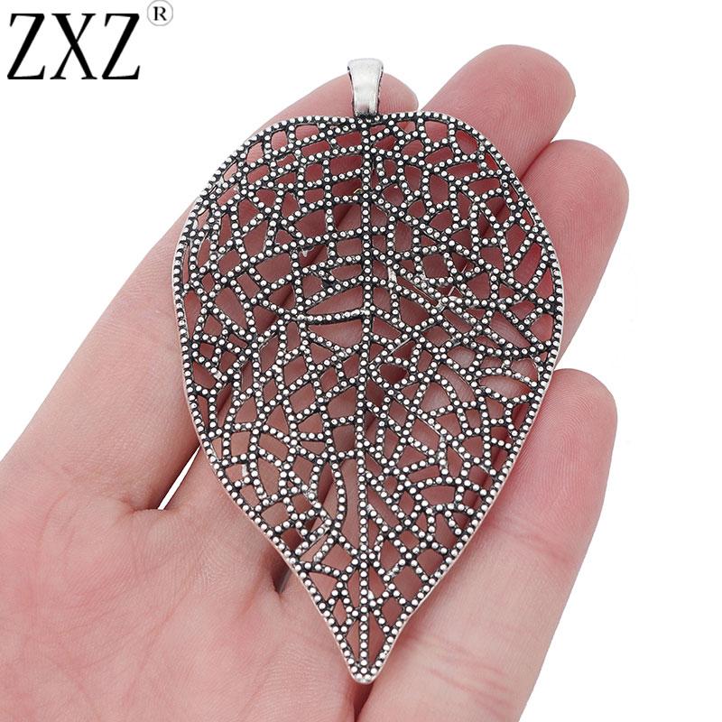 large filigree leaf large leaf large silver pendants metal leaf pendant leaf pendant Silver filigree leaf pendant flower findings