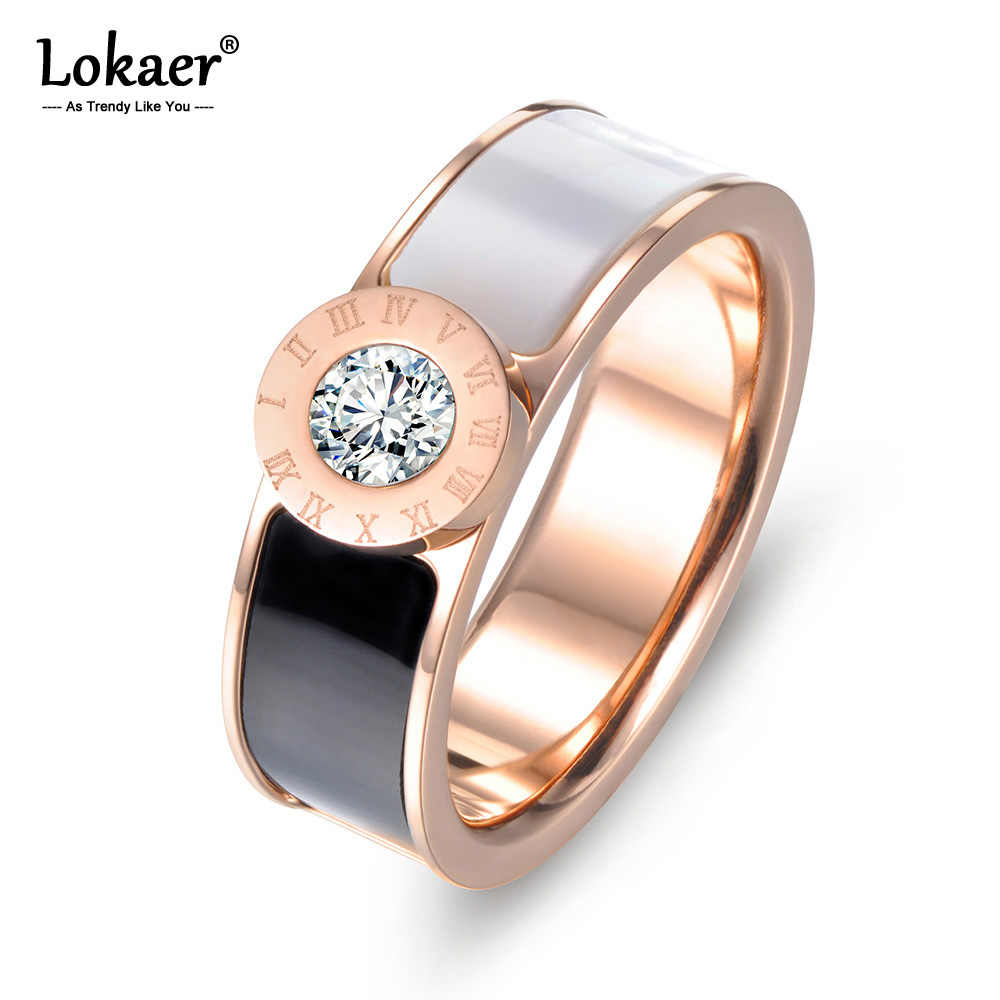 Lokaer Classic Stainless Steel Fine Brand Jewelry Acrylic & Shell Roman Alphabet Rings Bridal Wedding Engagement Ring R17033