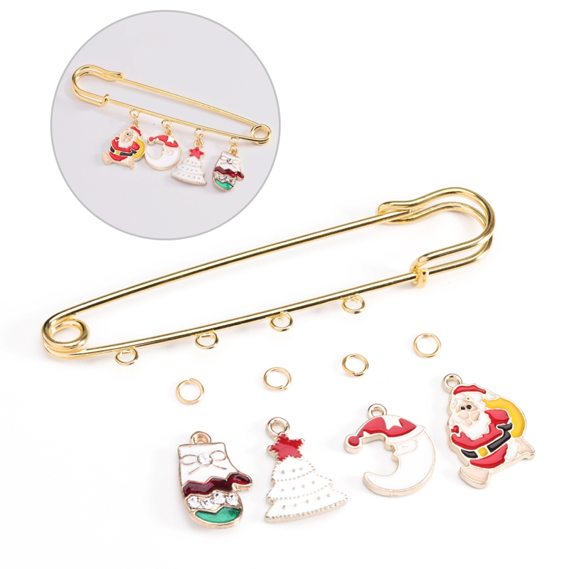 SAUVOO Christmas Safety Pins Brooches DIY Material Kits Santa Claus Deer Women Party New Years Brooch Make Jewelry Findings Sets