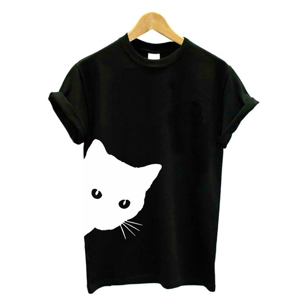 1 Pcs Funny Women Summer T-shirt Cat Cotton Harajuku Slim Short Sleeved  2018 Simple Shirt Sexy Korean Lady  And Girls Tee Tops