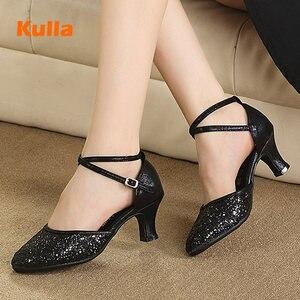 Image 2 - Latina tango sapatos de dança feminino conforto fechado dedo do pé menina moderno sapatos de dança de salão vermelho/preto/ouro sola macia sapatos de dança ao ar livre