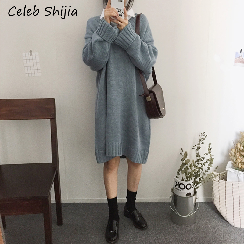 SHIJIA Casual Oversized Sweater Dress For Woman Chic Korean V-neck Loose Mid Knitted Dress Street 2019 Autumn Winter Vestidos