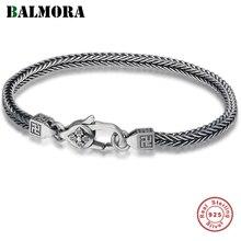 BALMORA 925 Pure Silver Good Wish Buddhism Six word Bangles Bracelet for Women Men Couple Vintage Cool Fashion Jewelry Pulsera