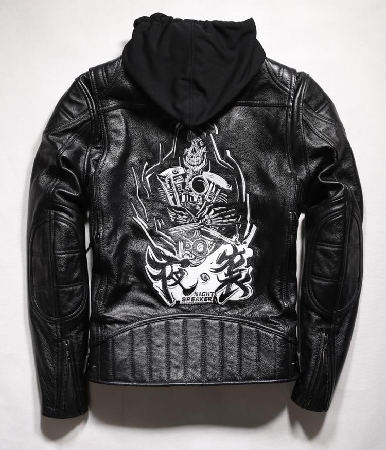 Free Shipping. Cool Brand Man Style Skull Eur Plus Size Jackets Men's Genuine Leather Motorcycle Biker Jacket.