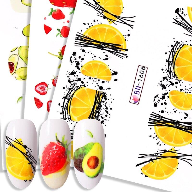 Verão fruta água decalques frutas kiwi banana limão morango projetos unhas adesivos envolve slider decoração manicures 2020