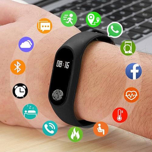 M2 умный Браслет фитнес-браслет часы с пульсометром Водонепроницаемый Bluetooth OLED трекер для IOS Android