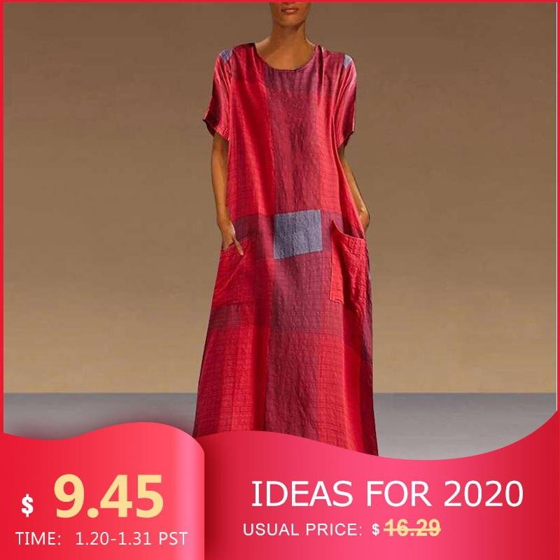 VONDA Bohemian Dress Women Casual Vintage Patchwork Plaid Maxi Dress 2019 Summer Beach Sundress Plus Size Long Party Dresses
