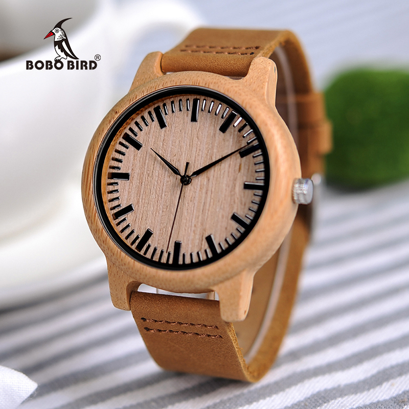 Natural Bamboo Wood Watch Men Women Genuine Leather Wooden Clock Male Hour Reloj De Madera OEM Dropshipping