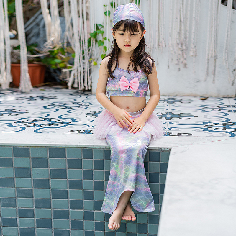 Childrenswear New Style Girls Wing Bathing Suit South Korea KID'S Swimwear GIRL'S Swimming Three-piece Set