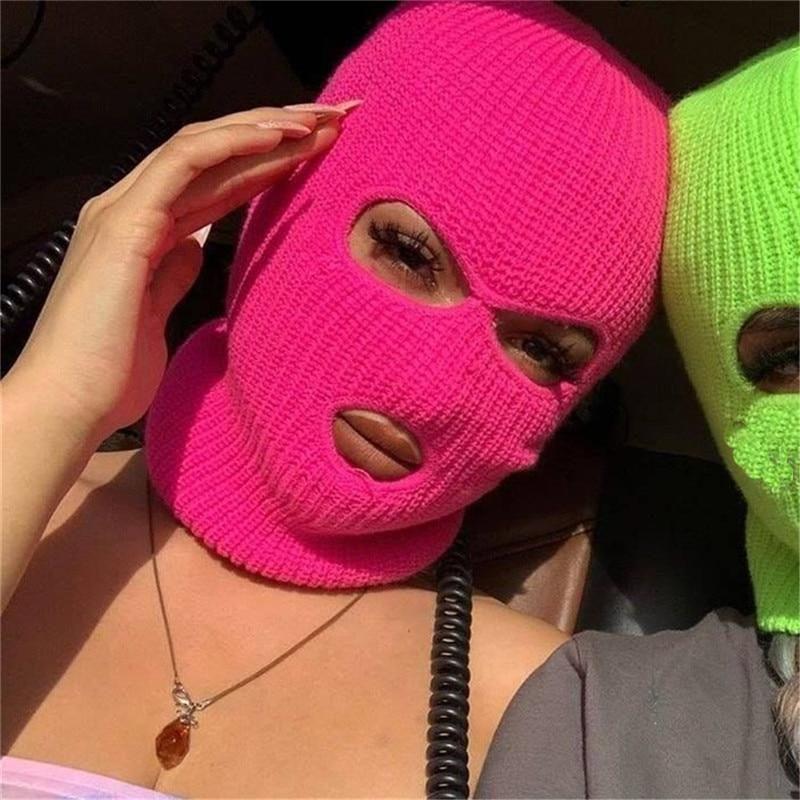 Full Face Cover Ski Mask Hat 3 Holes Balaclava Army Tactical CS Windproof Knit Beanies Bonnet Winter Warm Unisex Caps