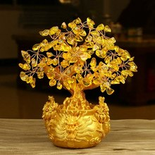 Chinese Golden Crystal Lucky Money Fortune Tree LUCKY Fortune Wealth Home Office Decoration Ornament Best Gifts(China)