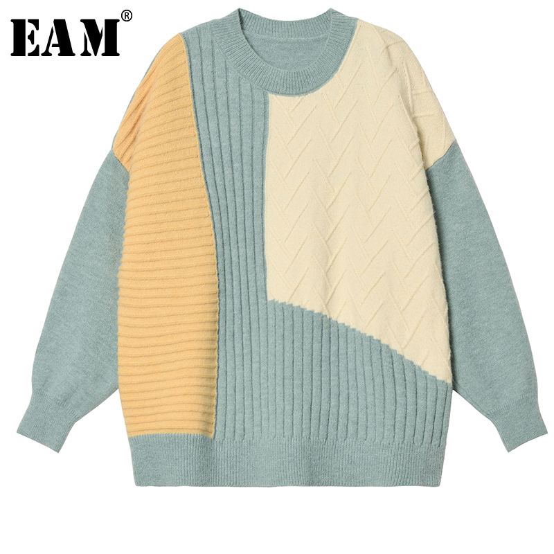 [EAM] 2019 New Autumn Winter Round Neck Long Sleeve Gradual Color Tassels Big Size Knitting Sweater Women Fashion Tide TC3020