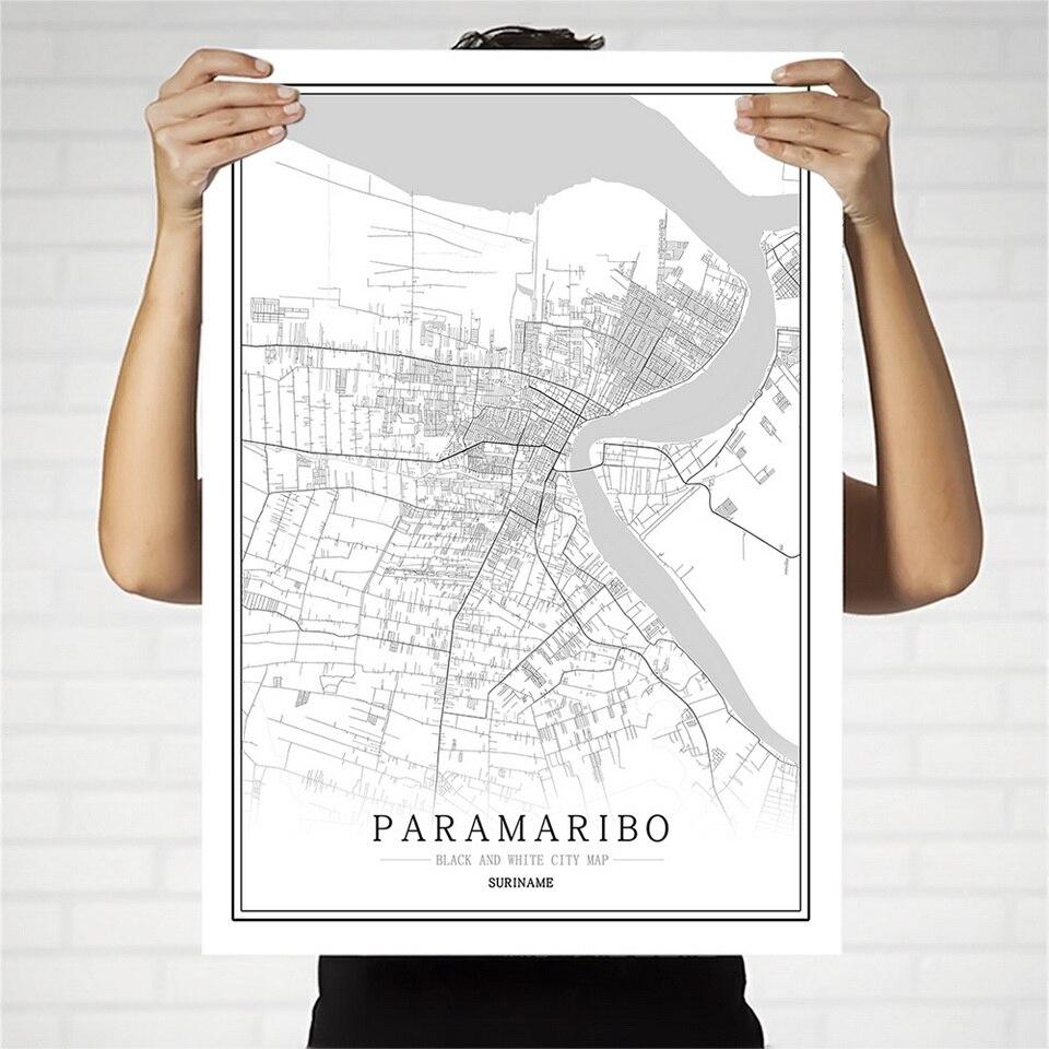 Suriname criativo mapa da cidade paramaribo abstracto pintura em tela preto e branco parede arte impressão cartaz imagem casa decoração