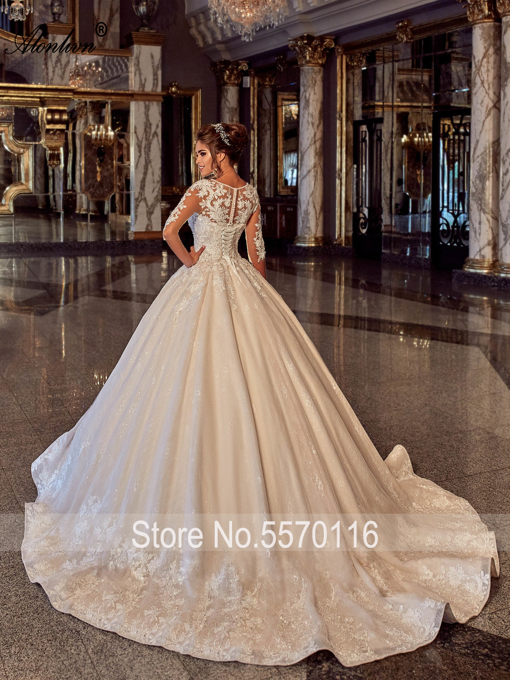 Alonlivn Delicate Shiny Beading O-Neck Wedding Dress Half Sleeves Lace Up Puffy Ball Gown Bride Skirts