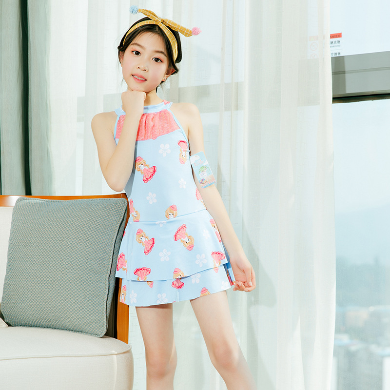 Summer Day New Style KID'S Swimwear 6-9-Year-Old Qmilch Children Bathing Suit Korean-style GIRL'S One-piece Swimming Suit