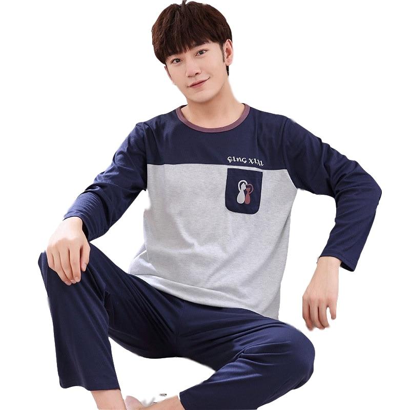 2019 Summer Cotton O-Neck Long Sleeve Pajamas Sets For Men Loose Sleep Wear Spring Letter Striped Cartoon Men's Pajama Set