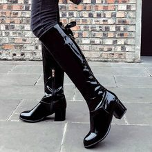 Women's Knee-High Long Boots Solid Color Bow Side Zip Round Knee Bare Boots sexy Ladies Square root Heel Casual Long Tube Boot(China)