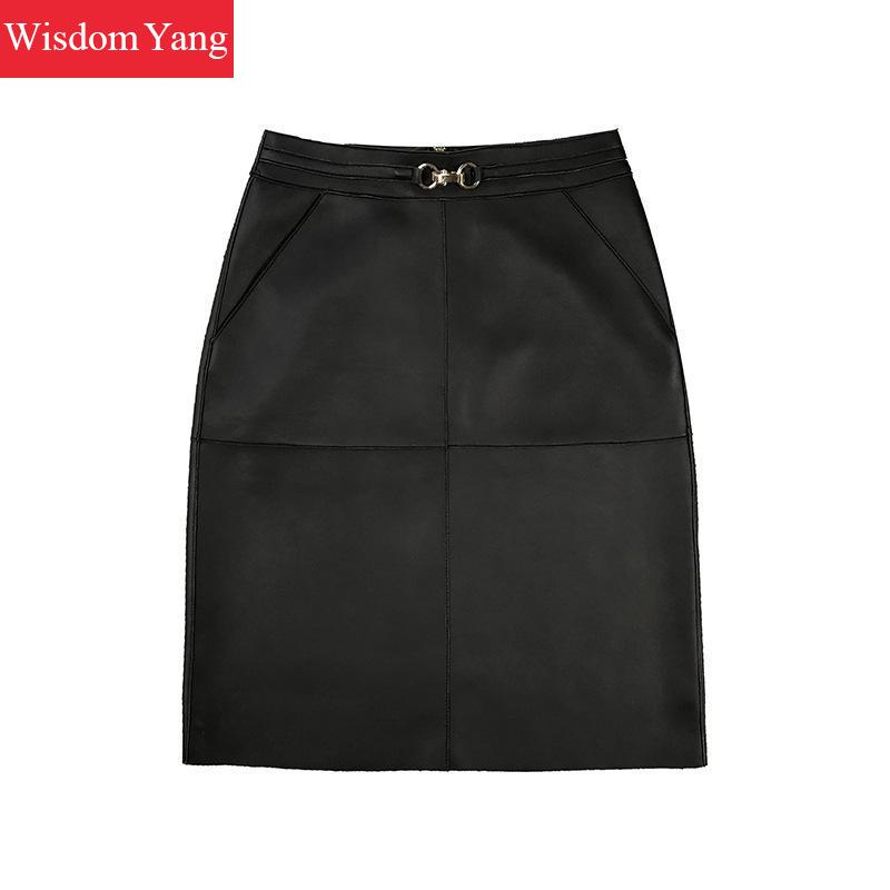 Genuine Leather Pencil Skirt Women Sheepskin High Waist Midi Wrap Yellow Green Black Bodycon Ladies Sexy Skirts Party Bodycon