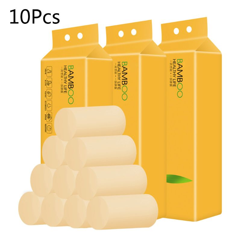 10 Rolls Bamboo Pulp Toilet Paper Towel 3 Or 4-Ply Thicken Biodegradable Bath 11UF