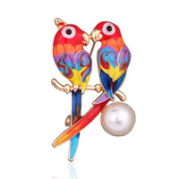 Colorful parrot pearl rhinestone fashion brooch