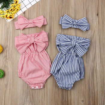 Newborn Infant Baby Girls Off Shoulder Strapless Striped Romper Large Bow Tie Jumpsuit Outfits Headband girls off shoulder flounce sleeve striped top
