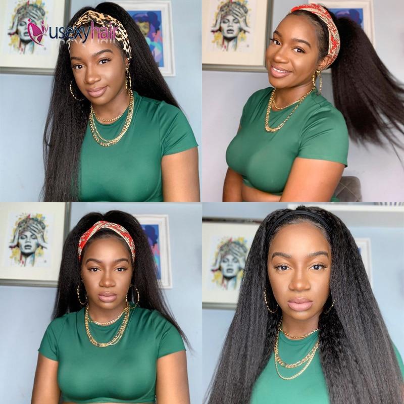 "30"" Kinky Straight Headband Scarf Wig Brazilian Remy 180 Density Afro Kinky Curly Full Machine Made Human Hair Wig With Headband"