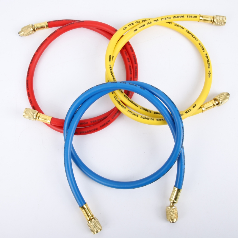 3pcs Brass R134a R410a 800PSI Manifold Gauge Set Shutoff Red Yellow Blue A//C Refrigeration Charging Hoses 19cm Length