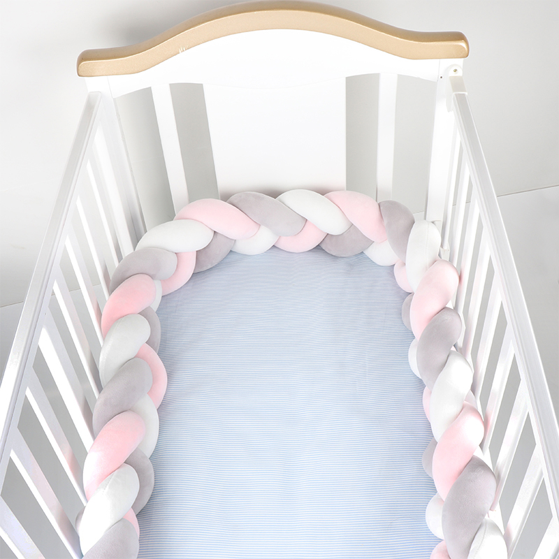 150cm Newborn Baby Bed Bumper Children Pillow Bumper Three Twisted Infant Crib Fence Cotton Cushion Kids Room Bedding Decoration