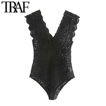 TRAF Women Sexy Fashion See Through Lace Bodysuits Vintage V Neck Sleeveless Female Playsuits Mujer
