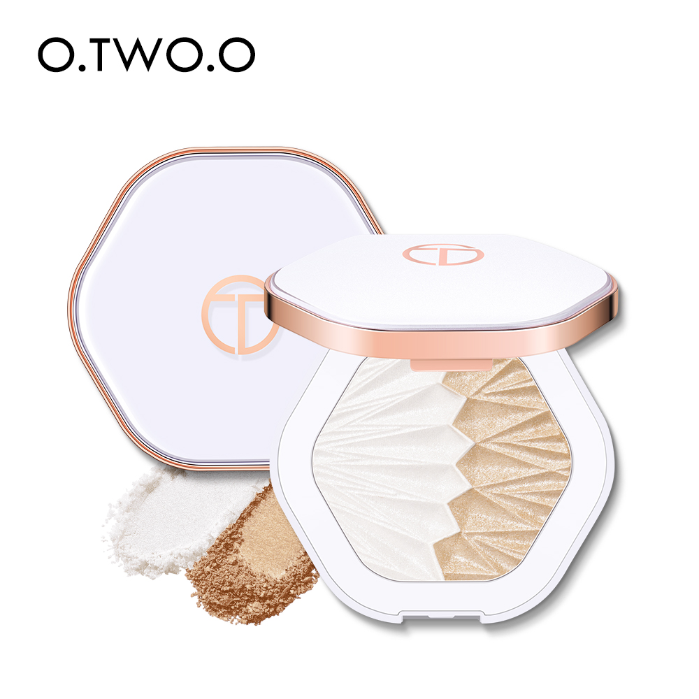 O.TWO.O 2 In 1 Highlighter Palette Gesicht Illuminator Shimmer Contouring Shell Highlighter Glowing Make-Up Perle Weiß Rosa Lila