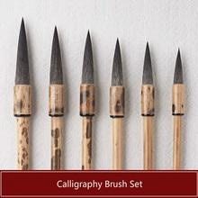 6pcs Chinese Calligraphy Brush Set Mouse Whisker Caligraphy Brush Tinta China Writing Drawing Traditional Chinese Writing Brush