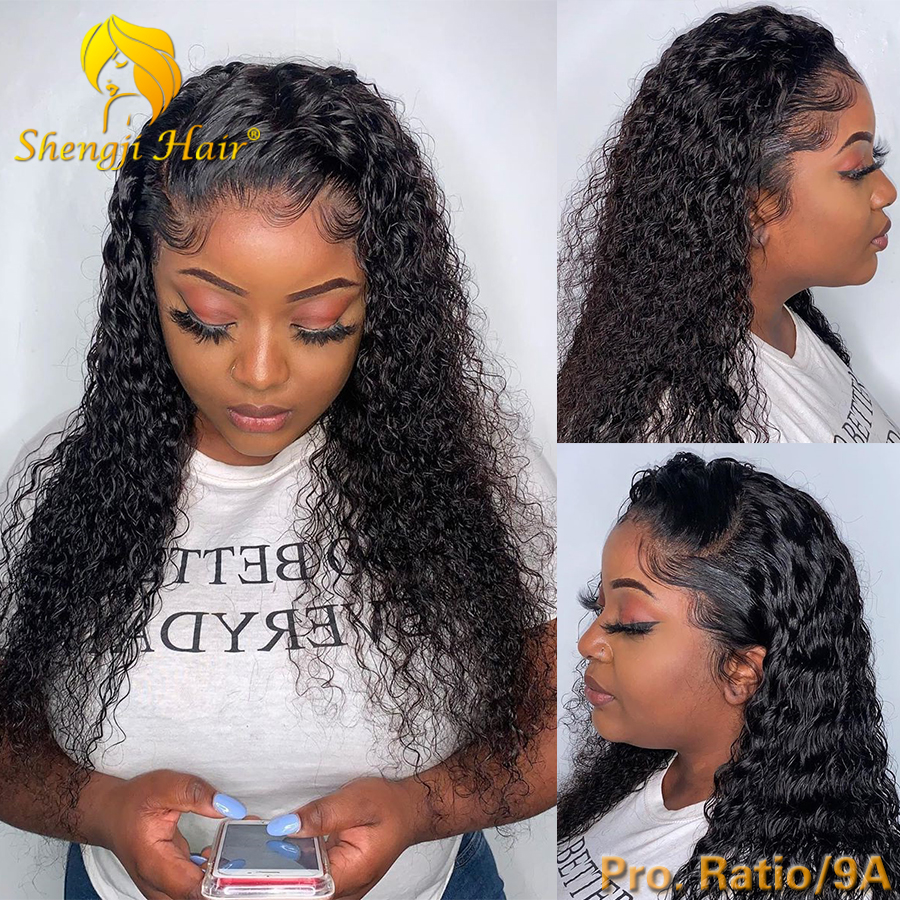 150% Glueless Lace Front Human Hair Wigs For Black Women 13x6 Remy Hair Curly Lace Front Wig Brazilian Lace Frontal Wig SHENGJI