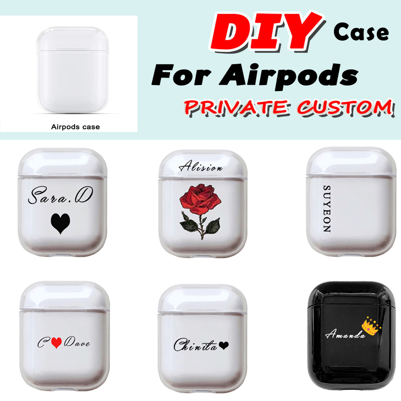 Custom name Logo Hard Plastic <font><b>Case</b></font> For Air Pods <font><b>Case</b></font> for Bluetooth Wireless <font><b>Airpod</b></font> Cover DIY Customized Photo Letter New Fashion image
