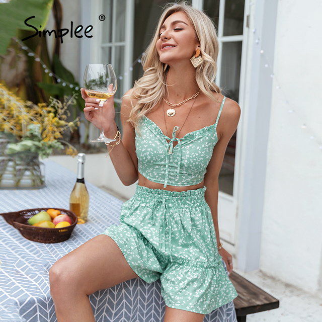Simplee Green floral print two pice up suit Sapaghetti strap boho lace up sets woman Elegant elastic waist slim set 2021 summer 1