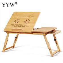 Adjustable Bamboo Laptop Stand For Bed Tray Portable Laptop Desk Anti-Slip Baffle PC Desk Timely Heat Emission Laptop Bed Desk