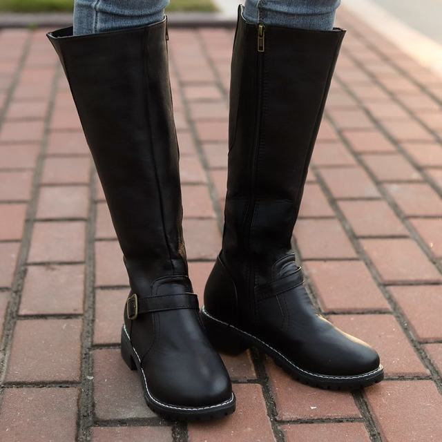 2019 Knees Square Heel Boots Women PU Leather Suede Matte Boots Slip on Zapatos De Mujer Solid Riding Knight Boots Winter Shoes 30