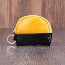 First oil wax leather ladies coin purse retro bag key