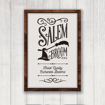 Salem Broom Co Sign Canvas Art Poster Prints Great for Halloween Rustic Home Modern Farmhouse Decoration Canvas Painting image