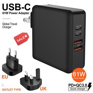 Image 1 - 3 في 1 USB للهاتف المحمول شاحن متعدد ميناء 61 واط PD QC3.0 محمول شحن سريع محول الطاقة قفص الاتهام شحن سريع PD18W الولايات المتحدة/الاتحاد الأوروبي/المملكة المتحدة التوصيل