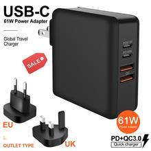 Cargador de teléfono móvil 3 en 1, USB, multipuerto, 61W PD QC3.0, adaptador de corriente de carga rápida para ordenador portátil, base de carga rápida, enchufe PD18W para EE. UU./UE/Reino Unido