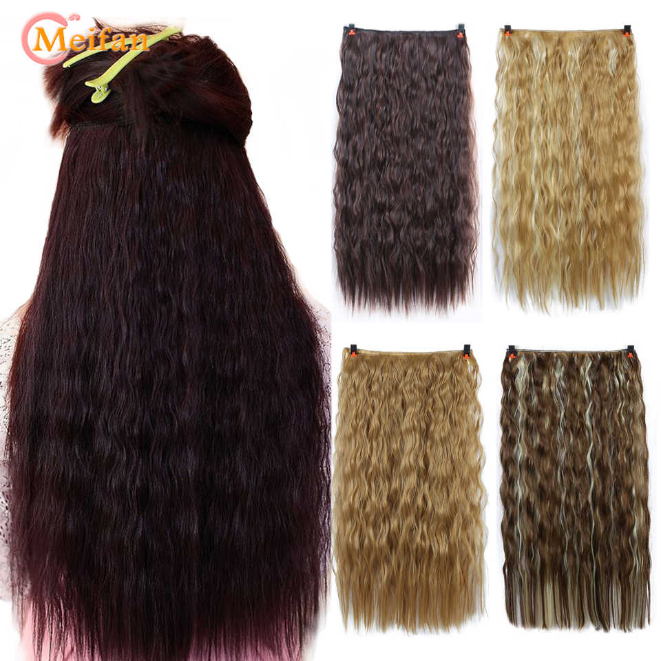 MEIFAN Long Curly Black Brown 5-Clips in Hair Extensions Heat Resistant Synthetic Natural Fake Hairpieces False Hair for Women