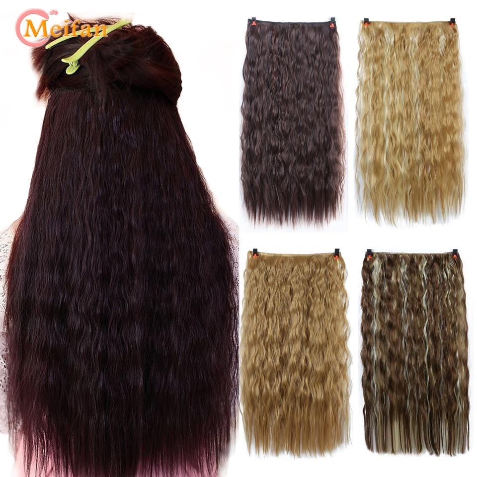 Длинные вьющиеся черно-коричневые накладные волосы MEIFAN на 5 зажимах термостойкие синтетические натуральные накладные шиньоны накладные во...