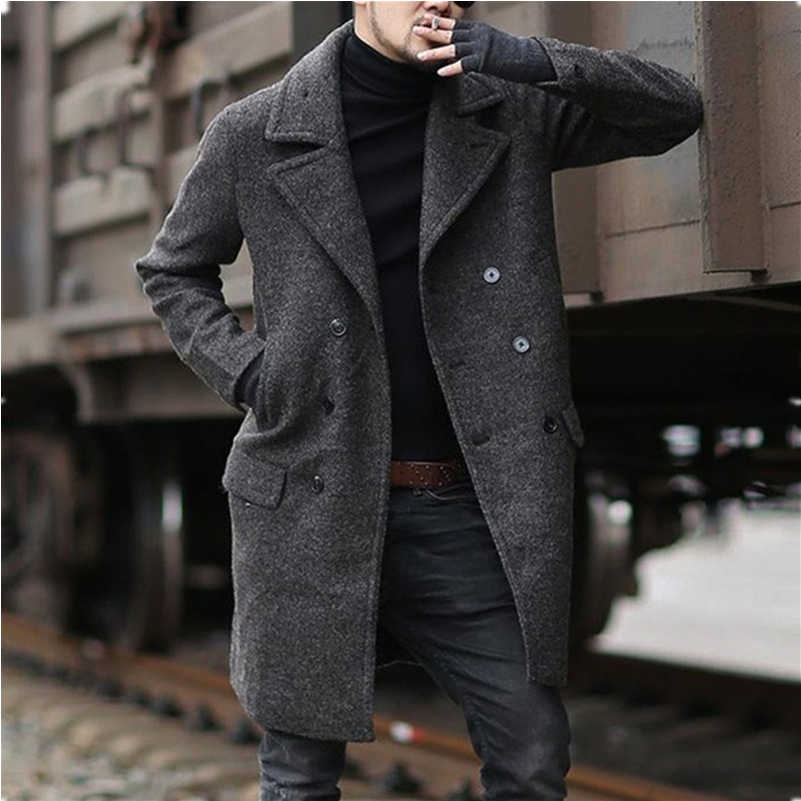 Мужское шерстяное пальто с длинным рукавом, двубортное шерстяное пальто, Мужская теплая верхняя одежда, весна-осень 2020