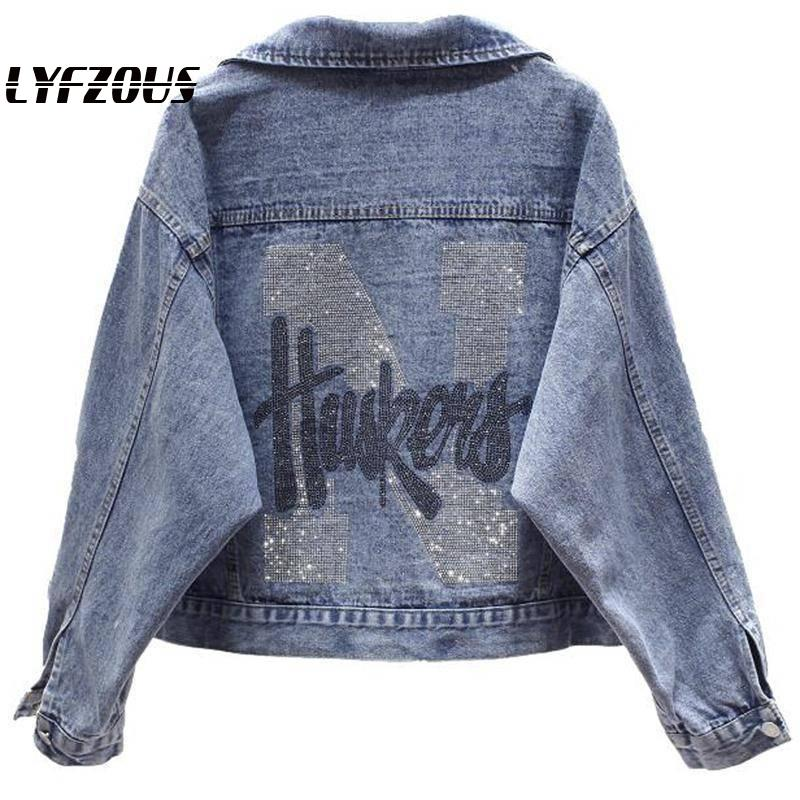 2020 New Spring Antumn Denim Jackets Women Ins Fashion Rhinestones Coat Girl's Casual Outerwear Letters Print Jean Jackets Coats