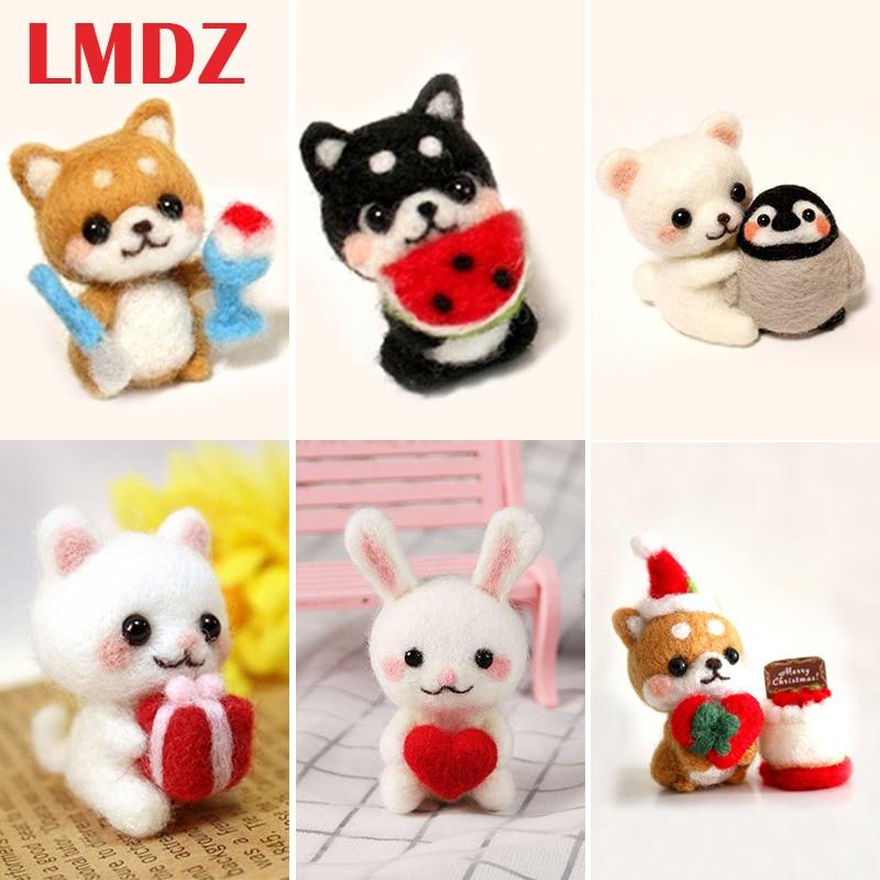 LMDZ 1Pcs Set Wool For Felt DIY Package Panda, Cats, Dogs, Rabbit,deer,lion, Stamps Needle Felting, Shiba Inu Set Animals DIY