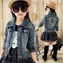 Girls Jackets 2019 Spring Autumn Denim Kids Coat Long Sleeve Outwear Cartoon Printed Jacket Girl Childrens