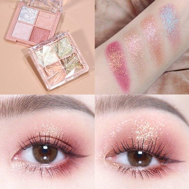 HOJO 4 Color Shimmer Eyeshadow Palette Comestic Glitter Pearlescent Long-lsting Waterproof Matte Eye Shadow Eye Makeup TSLM2 6